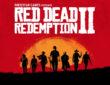 Logo des Red Dead Redemption Spiels auf rotem Hintergrund mit Cowboys