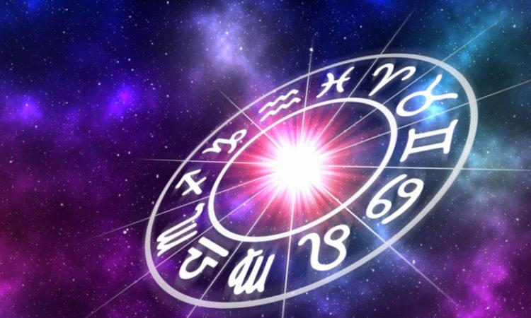 Tierkreiszeichen auf Galaxiehintergrund