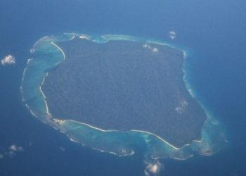 Luftaufnahme der Insel North Sentinel Island im Indischen Ozean