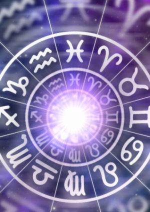 Sternzeichen in Kreis auf lila Hintergrund