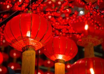 Rote Laternen am Chinesischen Neujahr
