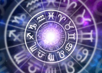 Sternzeichen auf lila Hintergrund